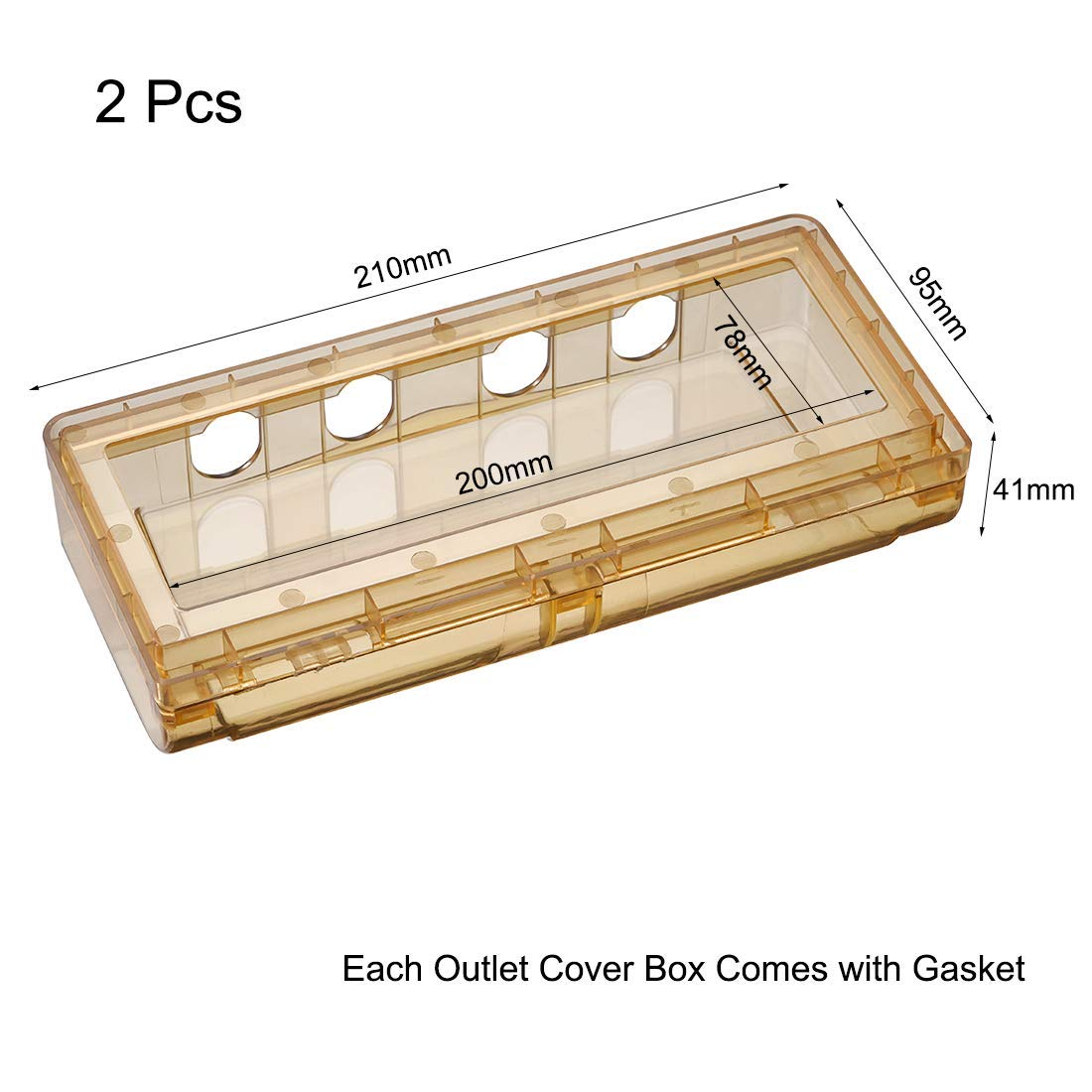 Weatherproof outlet cover Plug Receptacle protector in use Indoor use 210x95x41mm Tawny 2Pcs