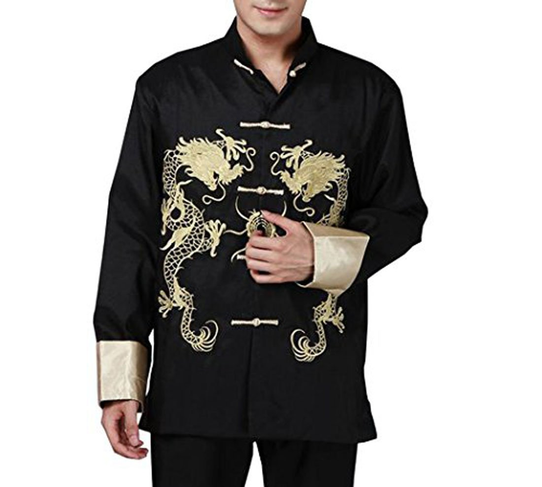 XueXian(TM) Mens Kung Fu Long Sleeve Chinese Dragon Spring Autumn Tang Jacket (China S: Bust 42.52'',black)