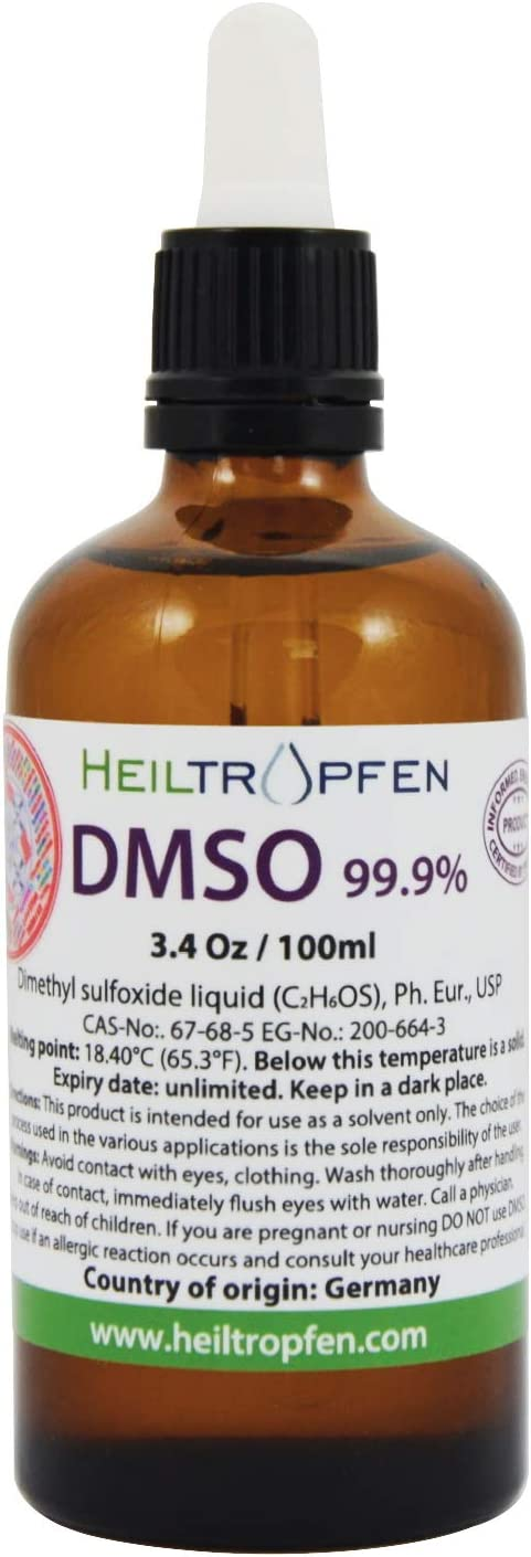 DMSO - Dimethyl sulfoxide Liquid (3.4 Oz), Energy Label, NO Odor, Pharmaceutical Grade, High Purity, Heiltropfen®