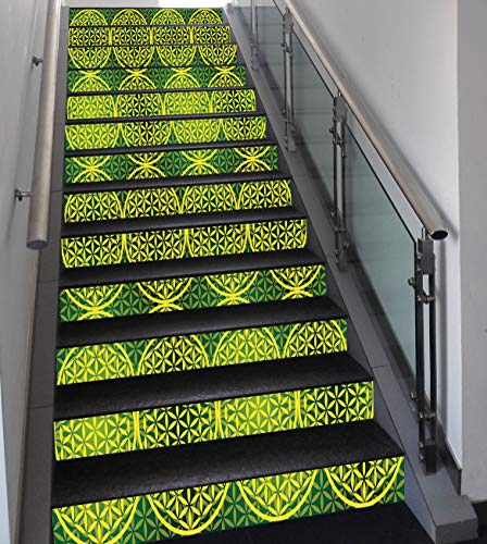 (Stair Stickers Wall Stickers,13 PCS Self-Adhesive,Abstract,Modern Vivid Flower of Life Meditation Ancient Code Icon Illustration,Yellow Hunter Green,Stair Riser Decal for Living Room, Hall, Kids)