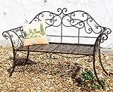 Panca da giardino 111183 2 marrone Panca 146cm in metallo ferro battuto Panca-seduta Panca da parco