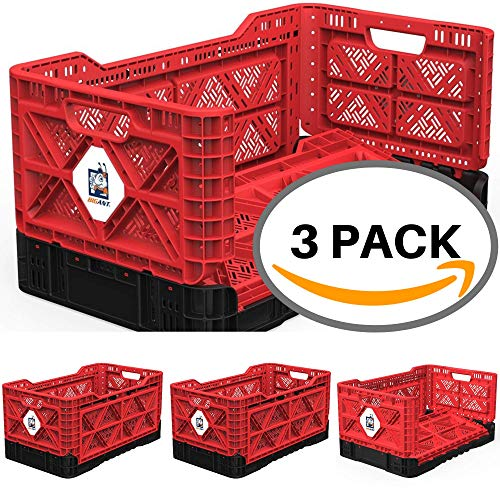 - BIGANT Heavy Duty Collapsible & Stackable Plastic Milk Crate - IP734235, 23.8 Gallons, Large Size, Red, Set of 3, Absolute Snap Lock Foldable Industrial Storage Bin Container Utility Tote Basket