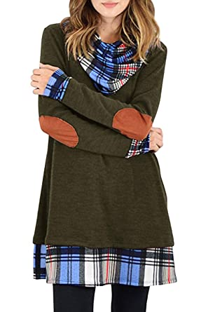 963a3aaf556 NiuBia Womens Cowl Neck Tunic Dress Plaid Patchwork Casual Long Sleeve Fall  Elbow-Patch Shirts at Amazon Women's Clothing store: