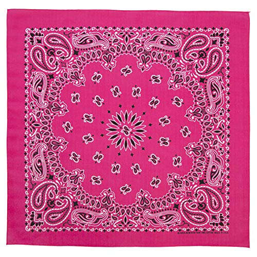 100% Cotton Western Paisley Bandanas (22 inch x 22 inch) Made in USA - Hot Pink Dozen Packed 22x22 - Use For Handkerchief, Headband, Cowboy Party, Wristband, Head Scarf - Double Sided Print