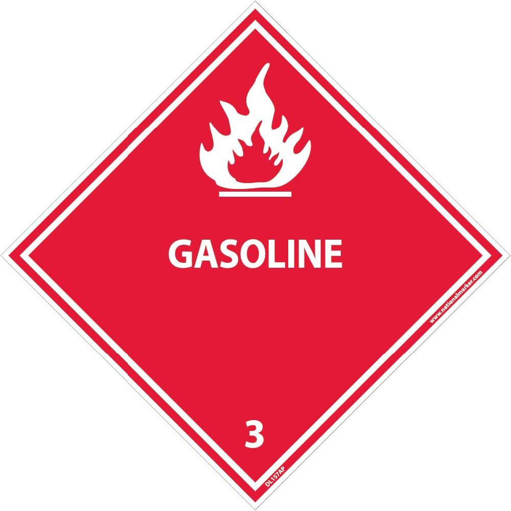 DL157AP National Marker Dot Shipping Labels, Gasoline 3, 4 Inches x 4 Inches, Ps Vinyl. 25/pk (Pack of 25)