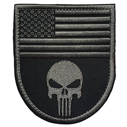 Air Force Flag Stickers (SpaceAuto Gray Punisher w/ USA American Flag Shield Shape Military Tactical Morale Badge Hook & Loop Fastener Patch 3.54