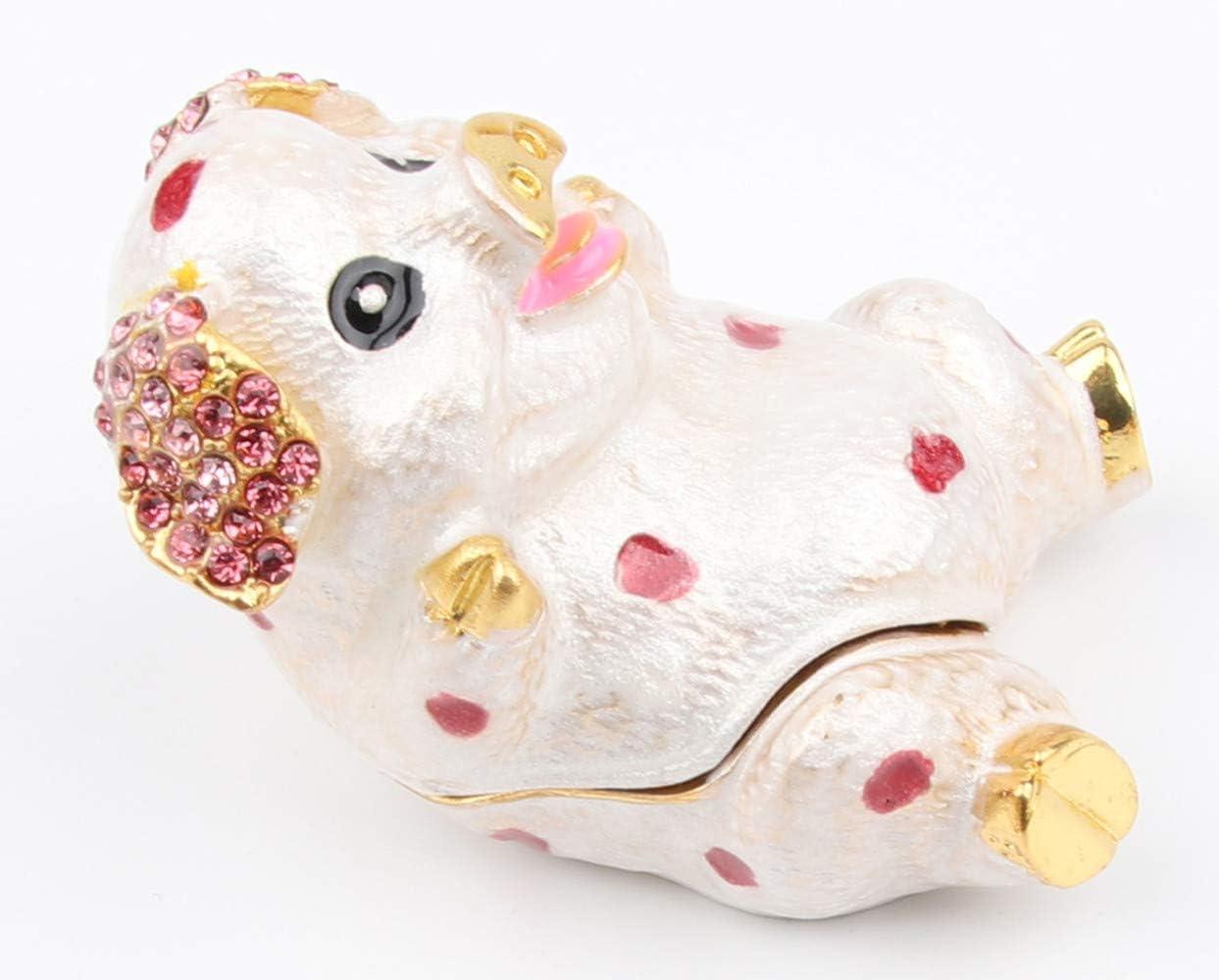 Pig Figurines Hinged Jewelry Trinket Box