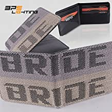 BPS Lighting JDM BRIDE Seat Gradation Logo Wallet Custom Stitched Leather Racing Super Cool (Grey/Tan)