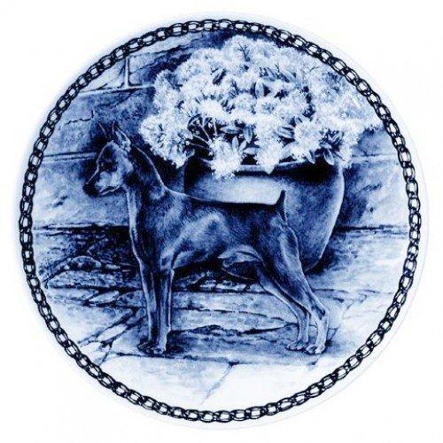 Skan Lekven Miniature Pinscher Danish Blue Porcelain Plate #7323