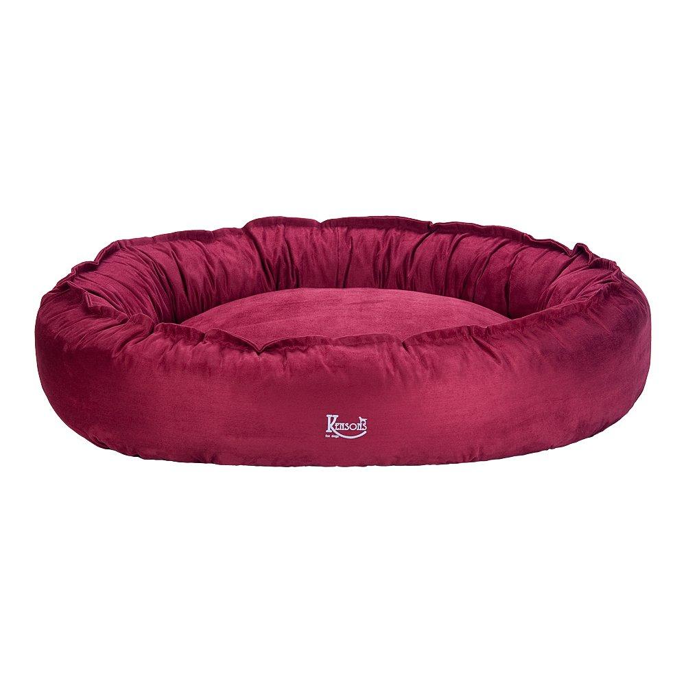 Hundebett berry/rot Wild-Leder/Microfaser nachfüllbar | Größe M: 100 x 80 cm | abnehmbarer Bezug, Hundebett waschbar bei 40°C, exklusive Füllung, Hundekorb Hunde-Liegeplatz Hundesofa, kuschelig