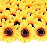 "Mocoosy 100Pcs Artificial Sunflower Heads 2.8"" - Yellow Small Silk Sun Flowers Bulk for Wedding Home Garden Party Decoration"