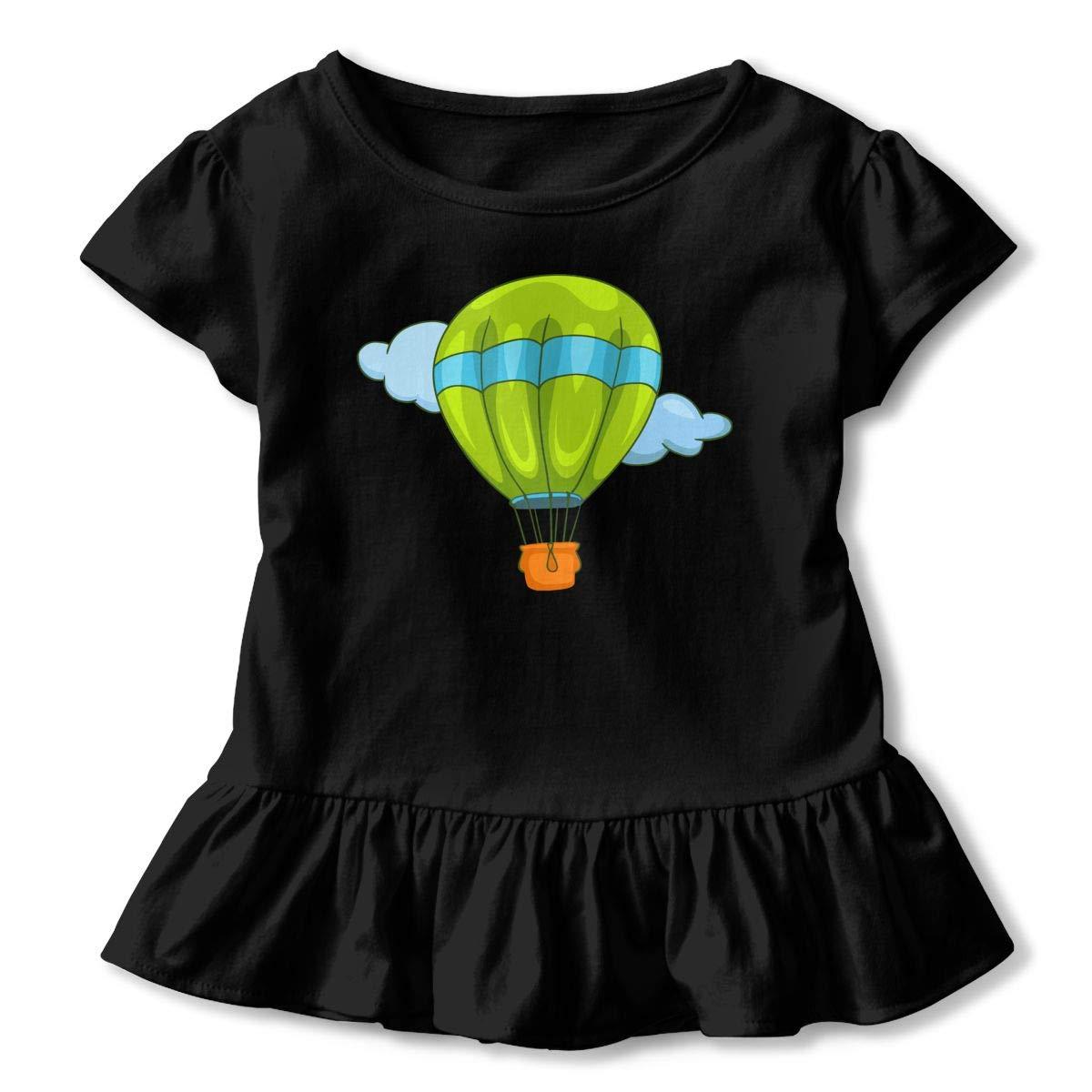 Green Hot Air Balloon Kids Girls Short Sleeve Ruffles Shirt T-Shirt for 2-6T
