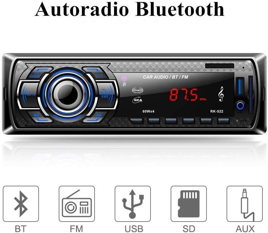 Aigoss Bluetooth Car Stereo, 4x60W Digital Media Receiver with Remote Control, Car Radio Single Din Hand-Free Call, Support USB/SD/Audio Receiver/MP3 Player/FM