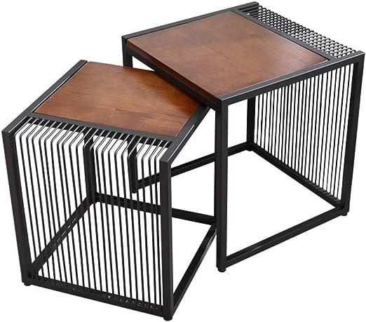 mesas de Centro Mesa de Centro Moderna de Hierro Forjado pequeña, Mesa de Centro de combinación de Madera Maciza Natural, Adecuada para Sala de Estar, Dormitorio, Hotel: Amazon.es: Hogar