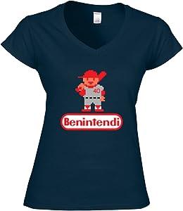 """Silo Shirts NAVY Andrew Benintendi Boston """"RBI"""" LADIES V-NECK"""