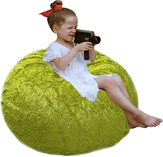 CALA LIFE LUCKBOY Kids Stuffed Animal Storage Bean Bag – Soft Faux Fur Bean Bag Chair Cover 38 Extra Large – Super Comfy Beanbag Chairs for Boys, Girls, 100 Plush Toys Holder and Organizer Green