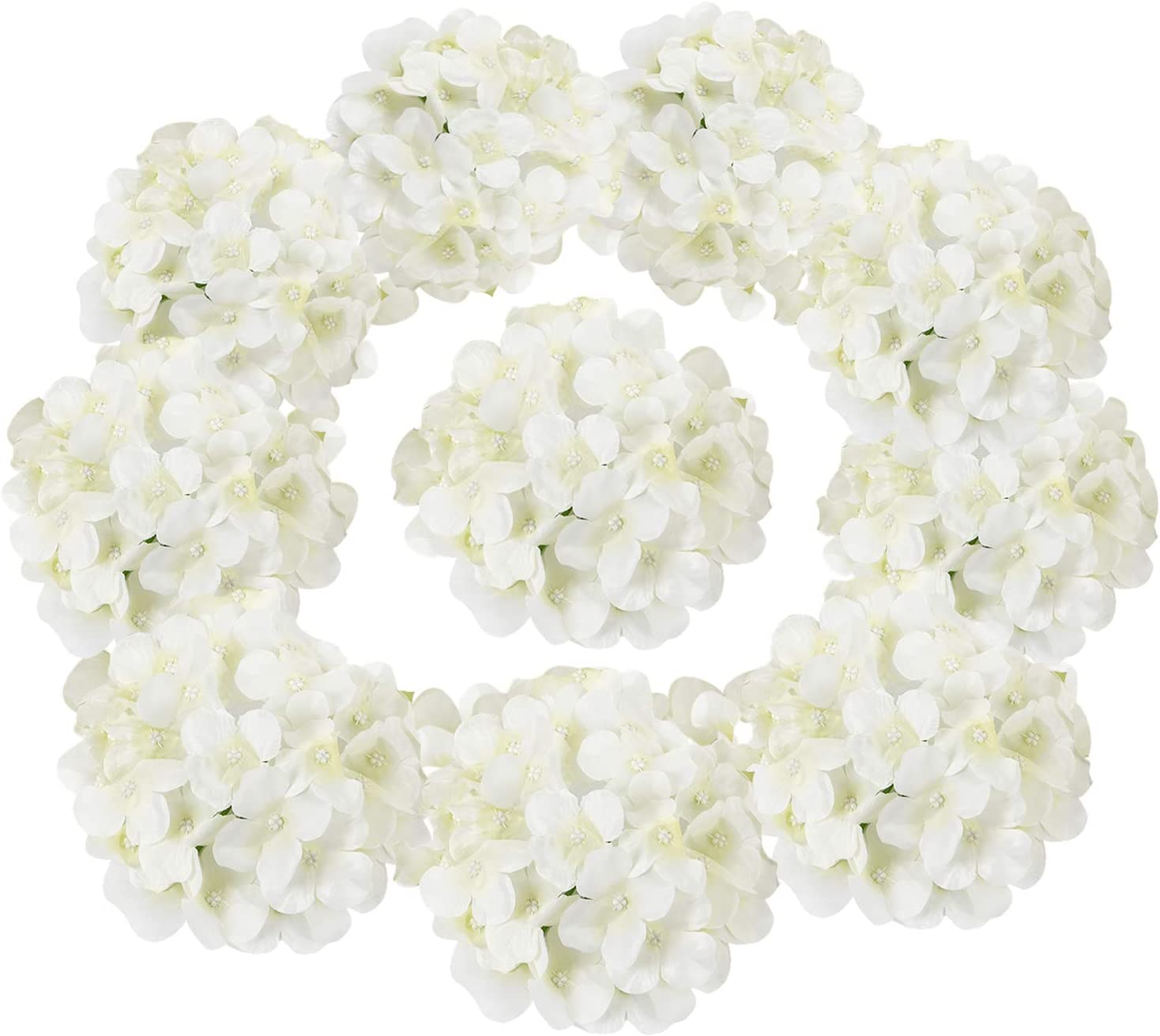 Sunm Boutique Artificial Hydrangea Flower Heads, 10 Pcs Silk Hydrangea Heads with Stems, Blooming Silk Hydrangea Flowers DIY Bouquet for Wedding Centerpieces Arrangements Party Home Decor