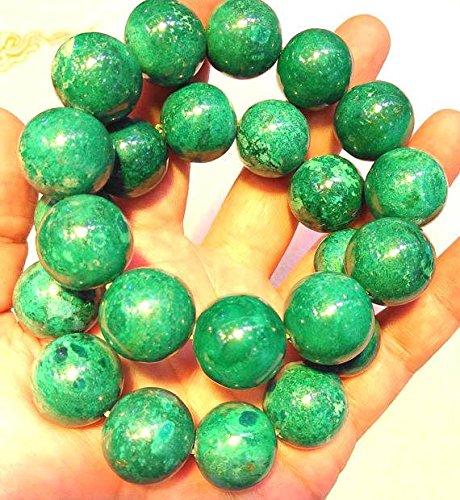 A+ 16mm Genuine Phoenix Gemstone Green Smooth Bead,8inch Bracelet,large gem bead by daybeads (Image #3)