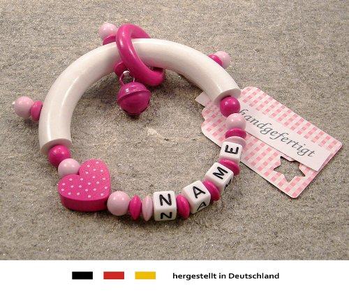 Baby Greifling Beißring halbrund mit Namen | individuelles Holz Lernspielzeug als Geschenk zur Geburt & Taufe | Mädchen Motiv Herz in pink