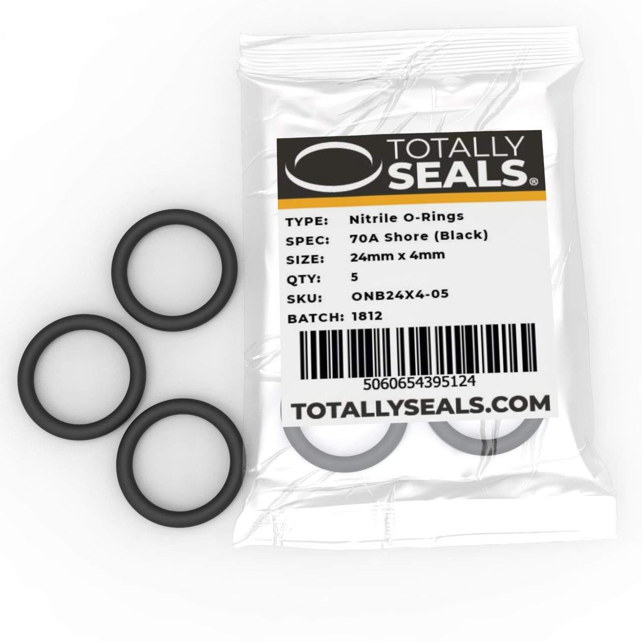 Choisissez la taille du pack Anneaux toriques en caoutchouc nitrile de 24 mm x 4 mm 32 mm OD - Duret/é de rivage 70 A Noir
