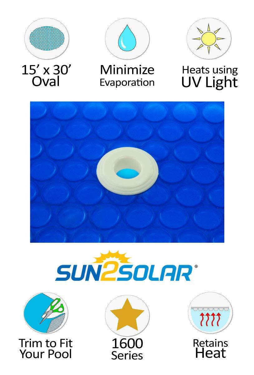 Sun2Solar 15/' x 27/' Oval Blue Swimming Pool Solar Blanket Cover 1200 Series