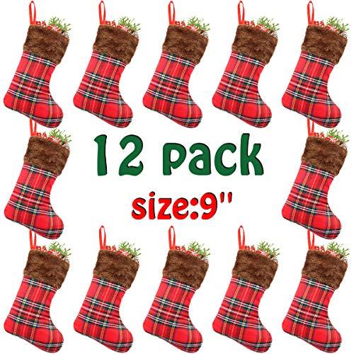 Libay 12 Pack 9 Mini Christmas Stockings Set, Small Rustic Felt Red Plaid Xmas Stockings Gift Card Bags Holders, Christmas Tree Decorations Xmas Party Ornament