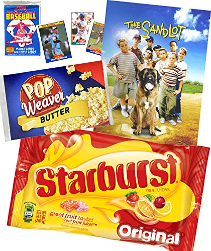 Baseball Popcorn Movie Night Starburst Fun Set / Sandlot DVD & Microwave popcorn Fruit Chews Candy Cherry / Lemon / Orange / Strawberry & Sports cards trading (Manzana Apple Halloween)