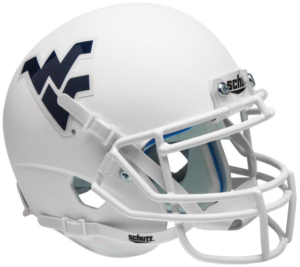 Matte White Alt Schutt NCAA West Virginia Mountaineers Replica XP Football Helmet 3