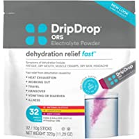 DripDrop ORS Electrolyte Hydration Powder Sticks Variety Pack (12 Lemon/10 Berry/10 Watermelon) 10g Sticks, 32 Count