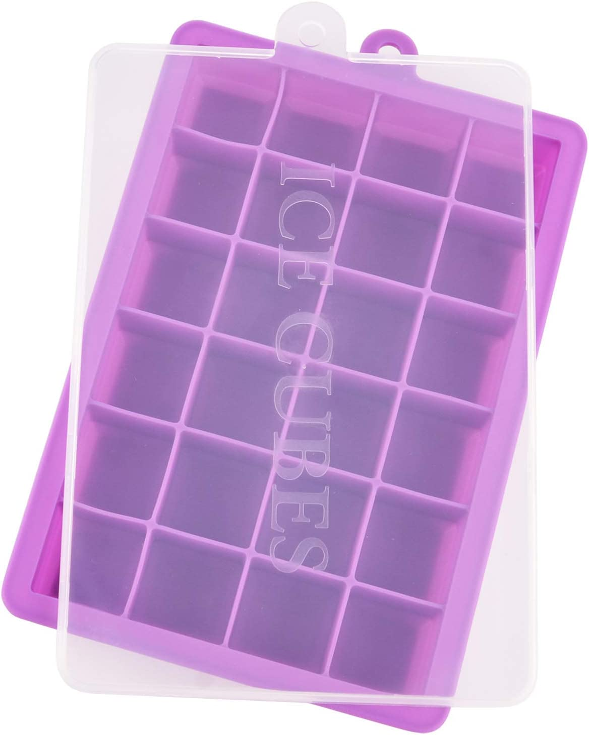 Ice Cube Tray, Silicone Ice Tray Molds Easy Release Ice Jelly Pudding Maker Mold, 24 Cavity (Purple)