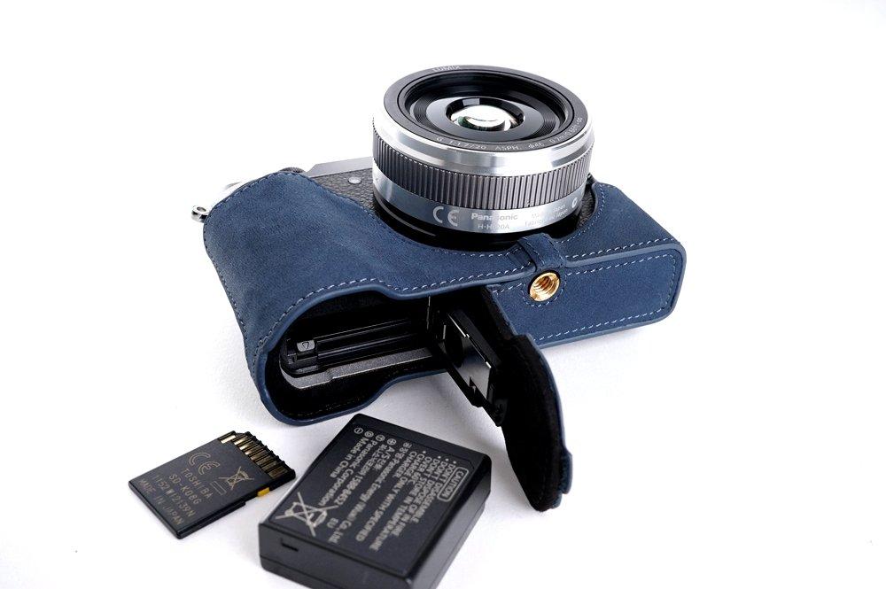TP Panasonic パナソニック GX7MK2用本革カメラケース(電池,SDカード交換可) ダークブルー B01N8Q7P02 カメラケース&ストラップTP1881