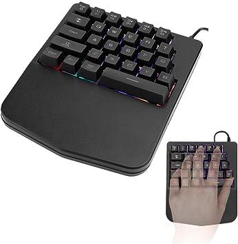 Topiky Teclado para Juegos con una Sola Mano, 28 Teclas Teclado mecánico para Juegos con una Sola Mano Teclado Liso Combinado FN