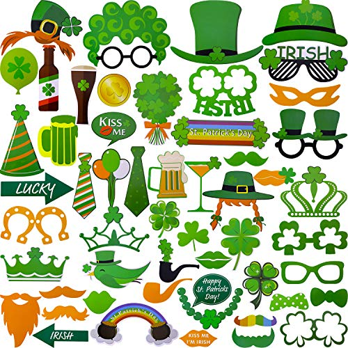 Chuangdi 80 Pieces Irish Photo Booth Props DIY Kit for St. Patrick's Day Party Supplies