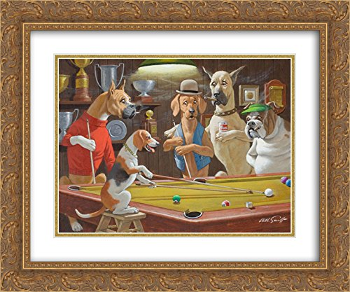 Pool Dogs Playing Framed (Hey! One Leg on The Floor/Dogs Playing Pool 2X Matted 24x20 Gold Ornate Framed Art Print by Arthur Sarnoff)