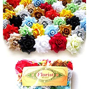 "(100) Assorted Silk Roses Flower Head - 1.75"" - Artificial Flowers Heads Fabric Floral Supplies Wholesale Lot for Wedding Flowers Accessories Make Bridal Hair Clips Headbands Dress 3"