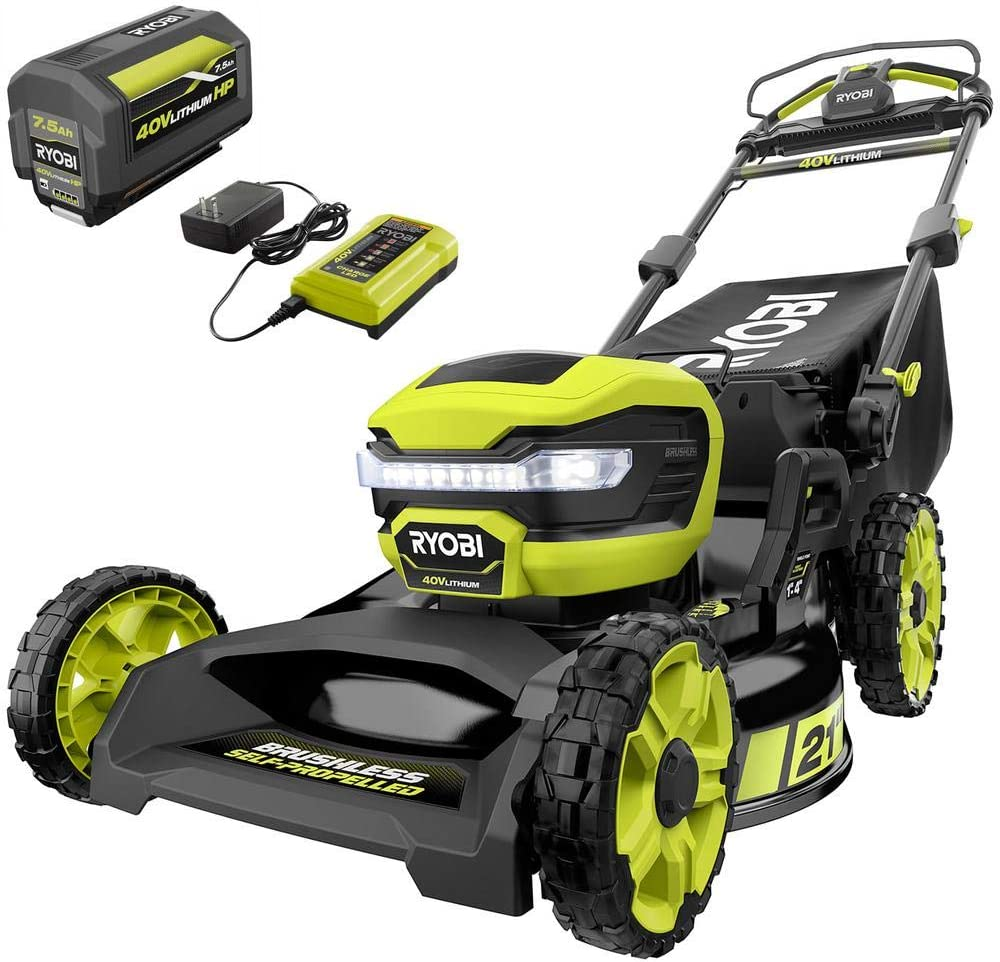 Amazon Com Ryobi Ry401130 21 In 40 Volt Lithium Ion Brushless Cordless Walk Behind Self Propelled Mower With 7 5 Ah Battery Charger Included Garden Outdoor