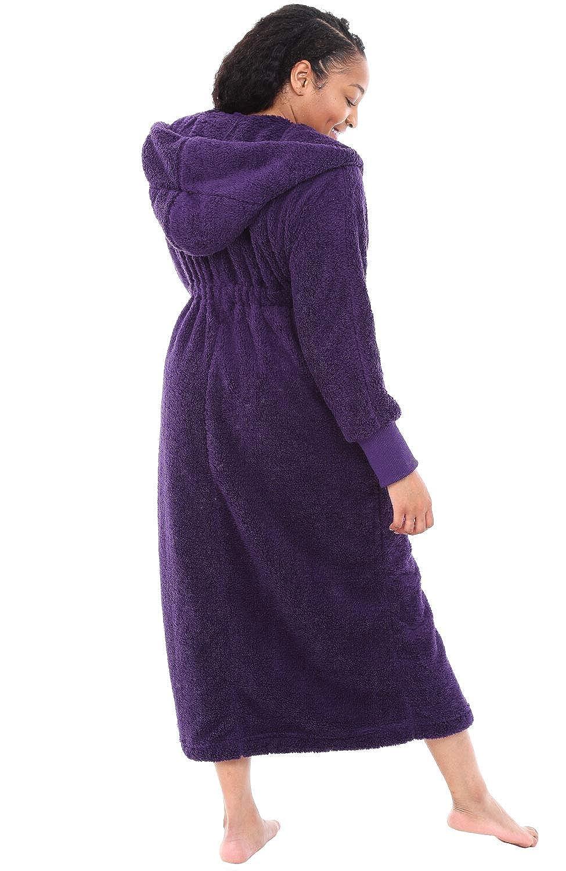 Long Plush Bathrobe Alexander Del Rossa Womens Warm Fleece Robe with Hood