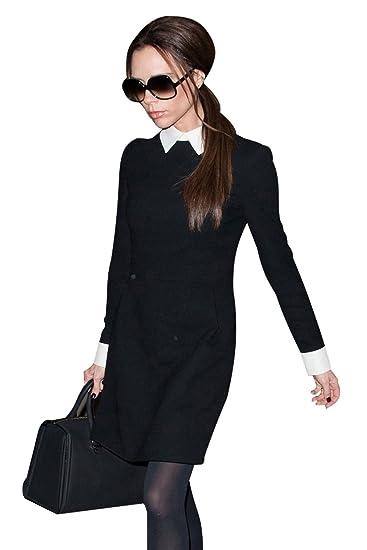 Kleid Schwarz Langarm Rock Kragen Farbe Peter Minetom TFKJ3l1c