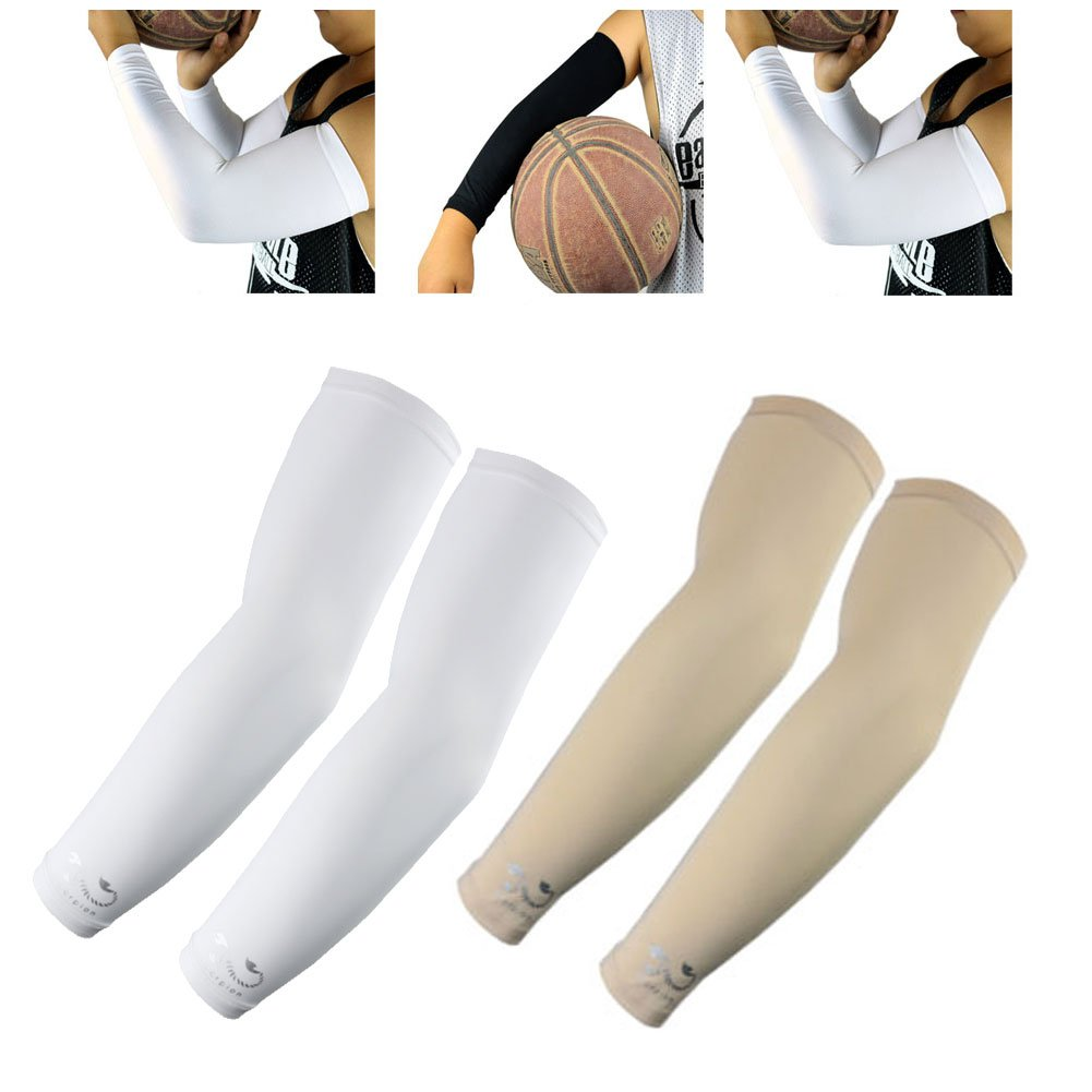 2 Pairs, Kids Youth Size Sports Moisture Wicking Compression Arm Sleeves, White, Beige