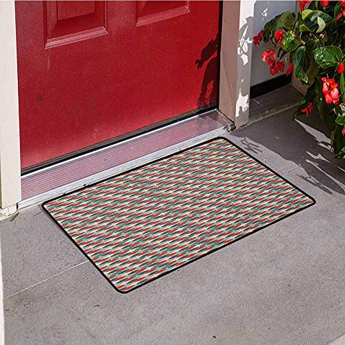 (GloriaJohnson Retro Commercial Grade Entrance mat Pattern of Mosaic with Geometric Design Old Fashioned Lattice Style Octagon Tile for entrances garages patios W23.6 x L35.4 Inch Multicolor)