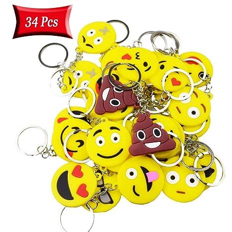 Funmo 34 Pcs Mini Emoji Llavero,Llavero Juguete de ...