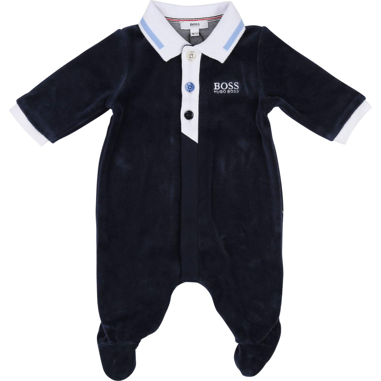 HUGO BOSS KIDS Baby Boys Velour babygrow NAVY 3M
