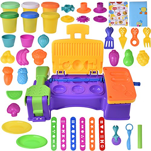 Kids Clay Dough Tool Playset, Play Kitchen Food Creations & BBQ Pretend Cooking Set, Pre-Kindergarten Educational Art Craft Kit with Dough Molds Cutters, Fruit Shapes Maker- 36 PCs (Clay - Maker Clay