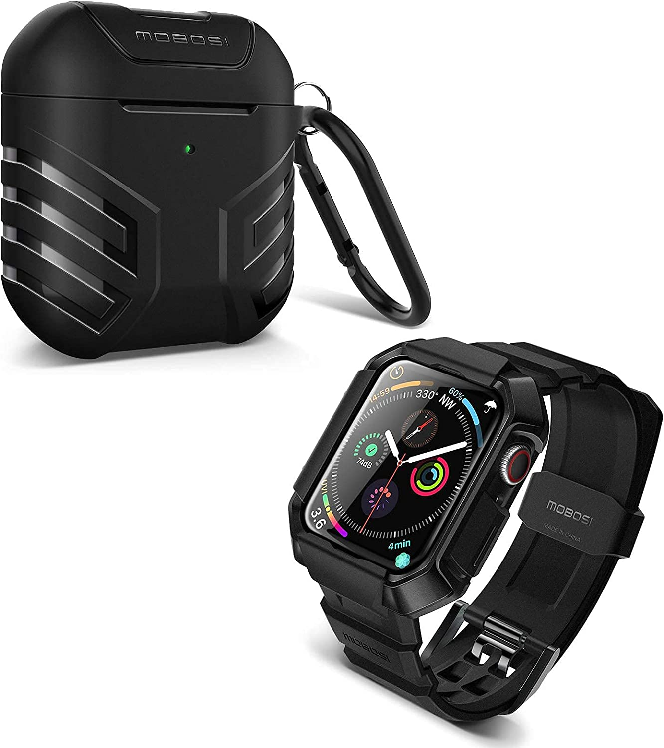 MOBOSI Swisper Series Compatible with Apple Watch Band 44mm Series 6/5/4/SE(Black) + MOBOSI Vanguard Armor AirPods Case Cover Designed for AirPods 2 & 1(Black)