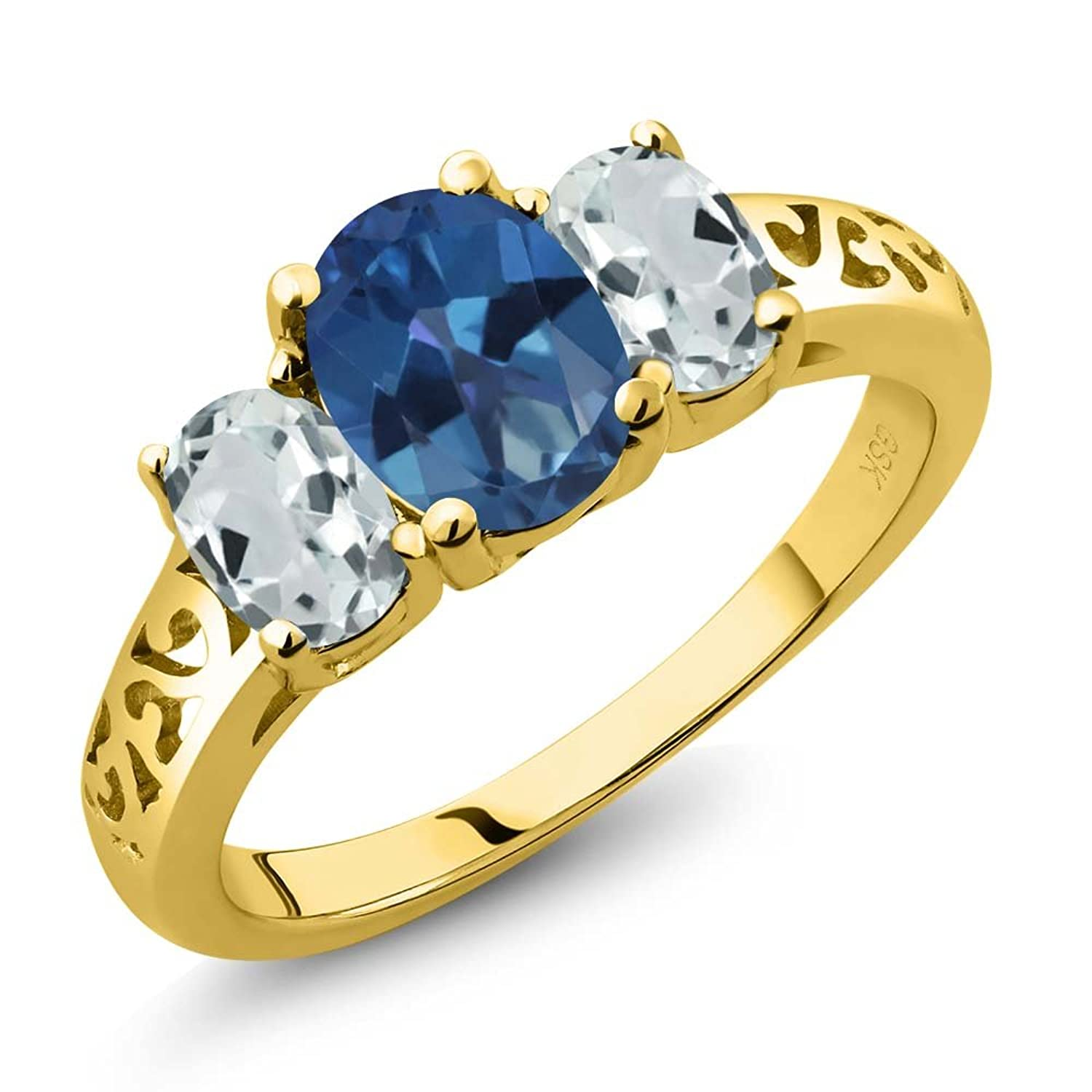 royal ct march oval blue gold jewelry rings topaz ring yellow birthstone birth aquamarine sky mystic