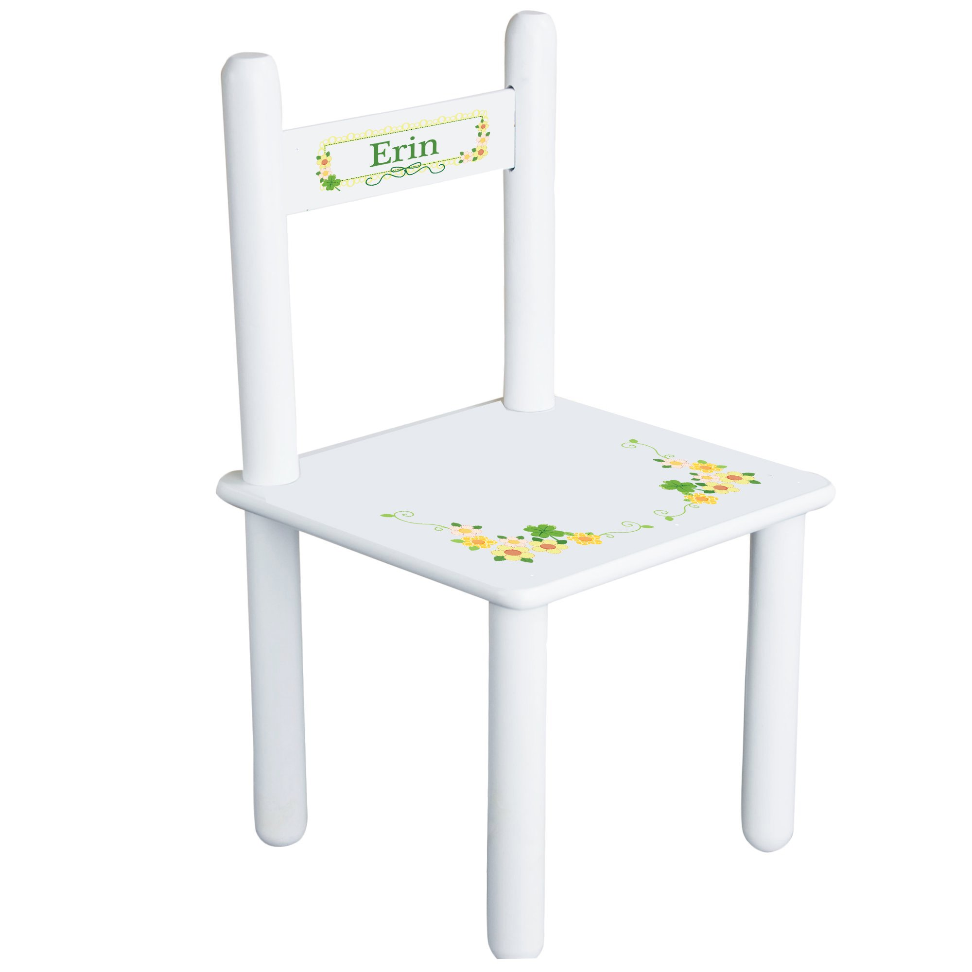 Personalized Shamrock Floral Child's Chair - white