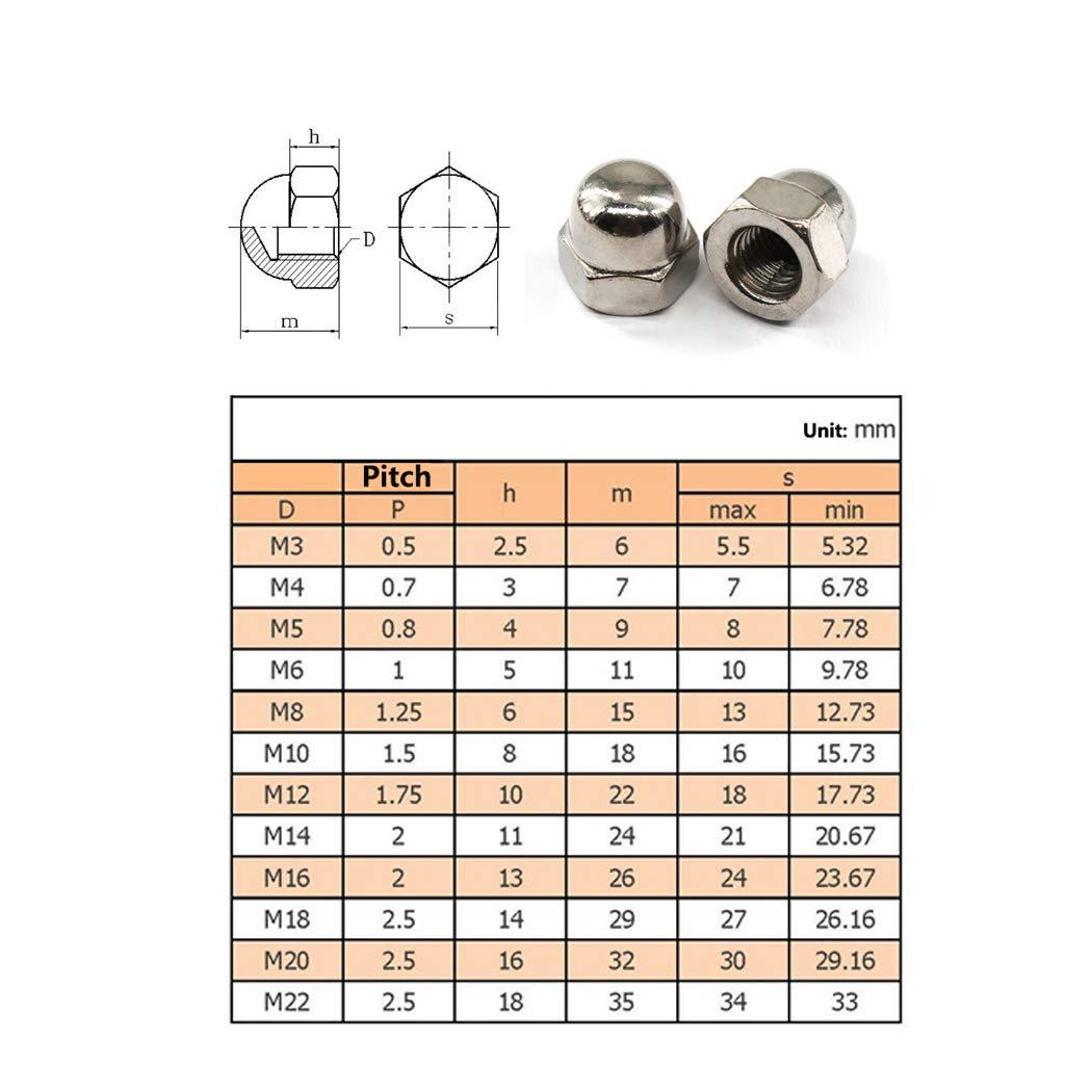 20 pezzi M10 Acorn Cap dado esagonale set di dadi in acciaio INOX 304