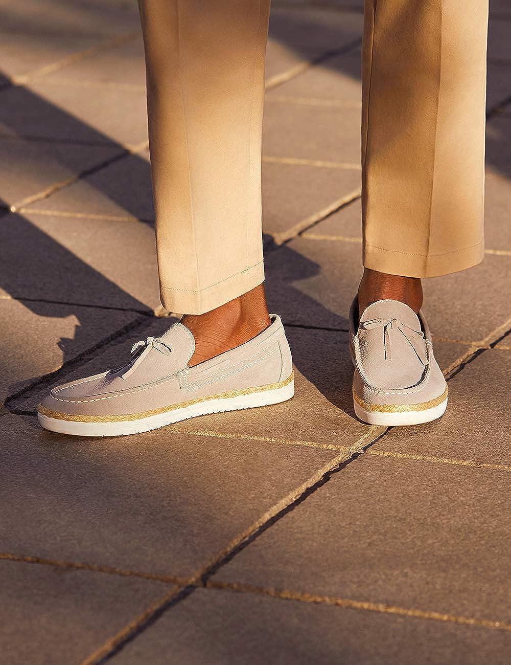 Marque Amazon - find. Leather Espadrille, Chaussures ou complément homme Gris Grey Grey