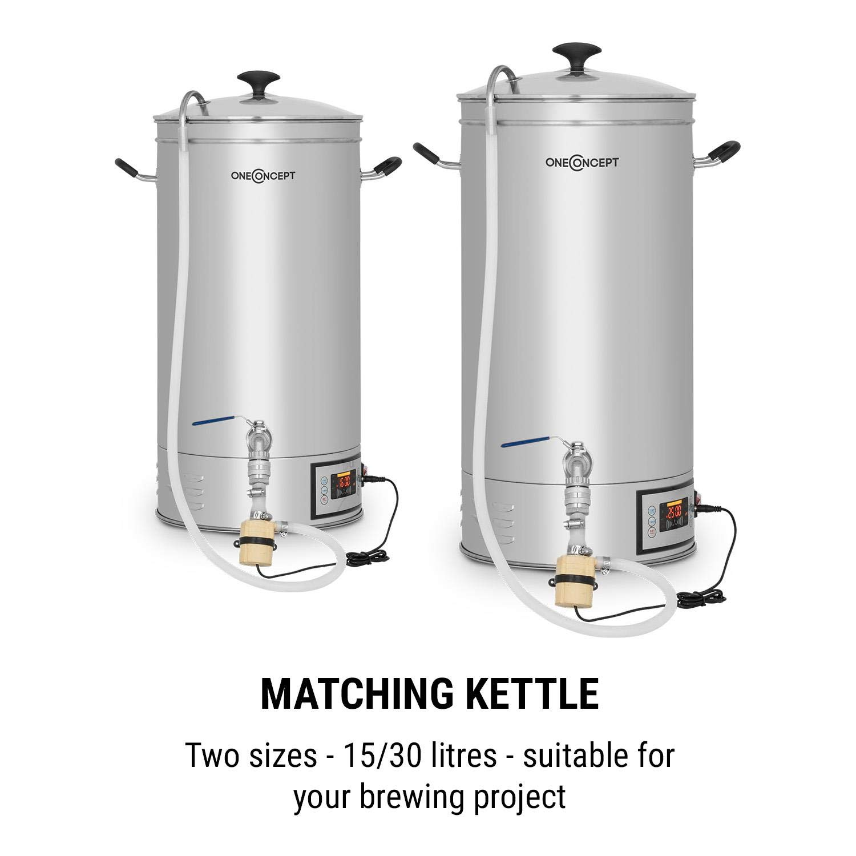 oneConcept Hopfengott 15 Caldera de maceración • Juego de fermentación • Cerveza casera • 15 L • 30-140 °C • 500-1600 W • Bomba circulación • 4 pasos ...