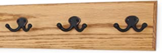 "product image for Oak Wall Mounted Coat Rack with Aged Bronze Dual Style Hooks 4.5"" Ultra Wide (Golden Oak, 15"" x 4.5"" with 3 Hooks)"